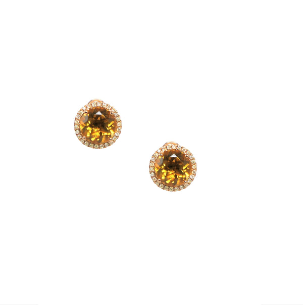 Round Citrine & Diamond Earrings