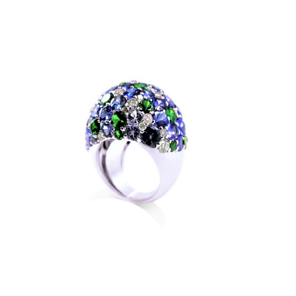 Tanzanite, Tsavorite & Diamonds Raindrop Sky Ring