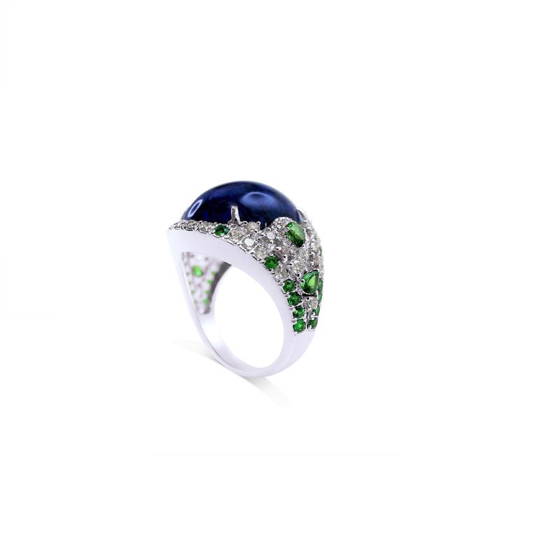 High Jewelry Tanzanite, Tsavorite & Diamond Ring