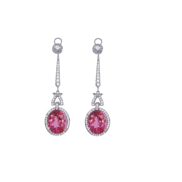 Pink Tourmaline & Diamond Drop Earrings