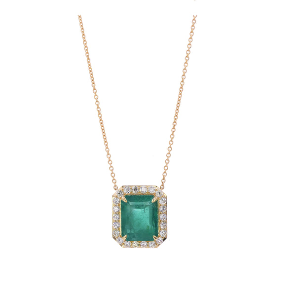 Halo Emerald & Diamond Pendant