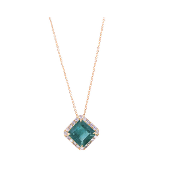 Fancy Emerald & Diamond Pendant