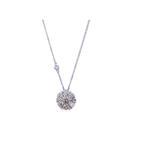 1.50 CT White Gold Flower Diamond Pendant