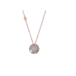 1.50 CT Rose Gold Flower Diamond Pendant
