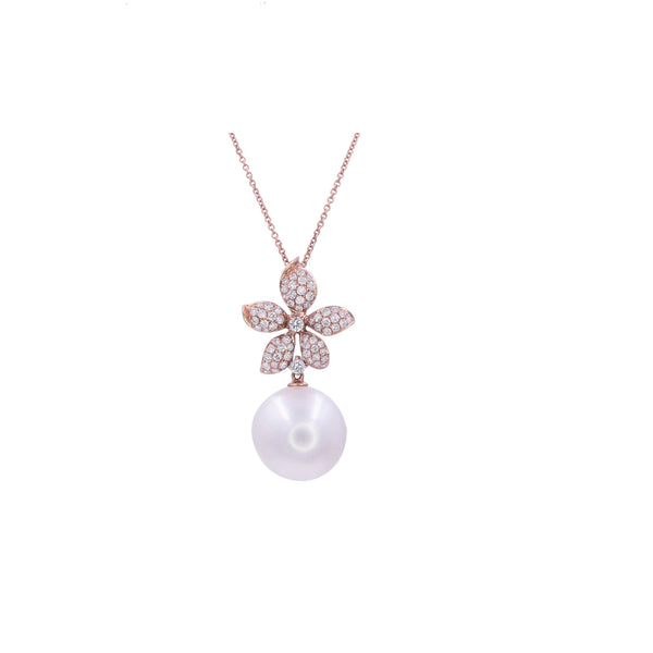 South Sea Pearl & Diamond Flower Pendant