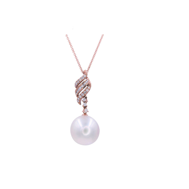 South Sea Pearl & Diamond Spiral Pendant
