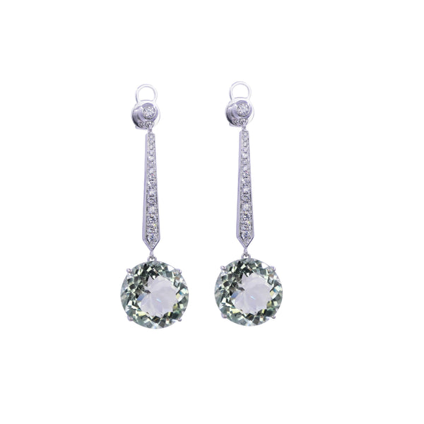Green Amethyst & Diamond Drop Earrings