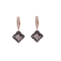 Square Smoky Quartz & Diamond Drop Earrings