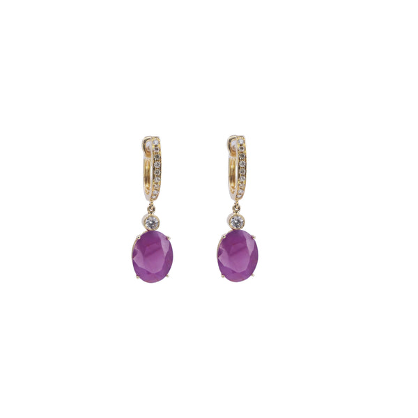 Oval Ruby & Diamond Drop Earrings