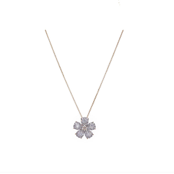 Yellow Gold Flower Diamond Pendant