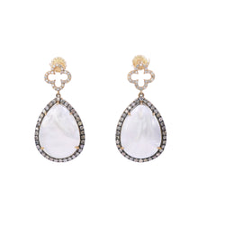 Mother of Pearl & Champagne Diamonds Drop Earring