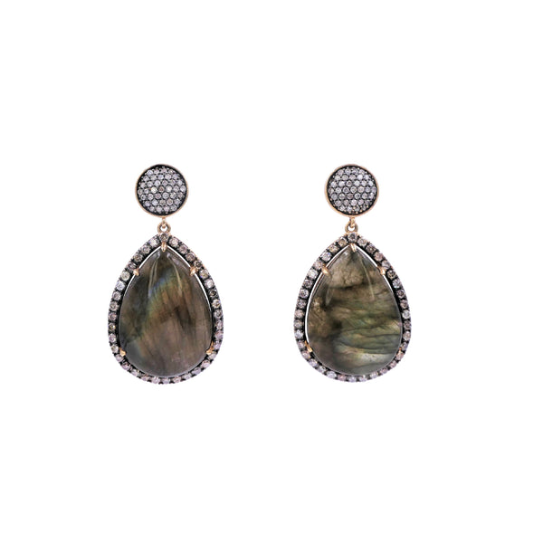 Labradorite & Champagne Diamonds Drop Earring
