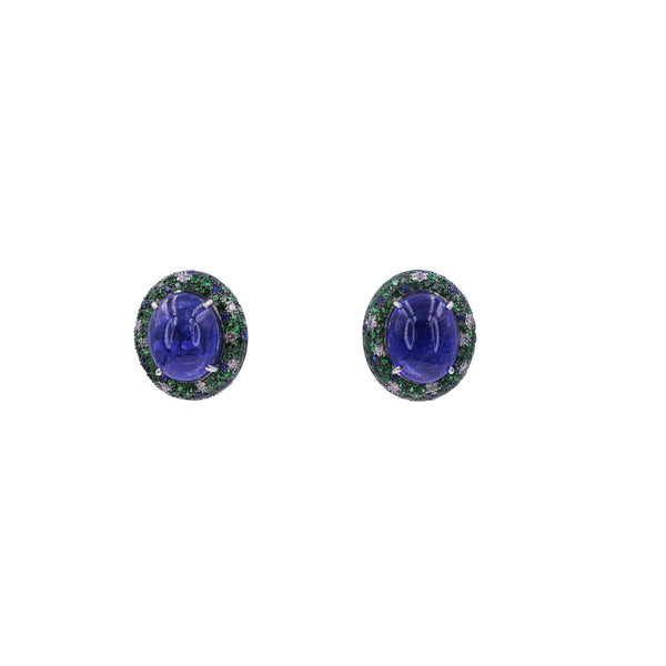Twin Moons Tanzanite & Diamond Cabochon Earrings