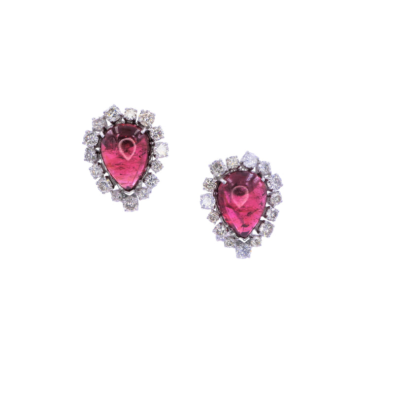 Pear Rubellite Diamond Earrings