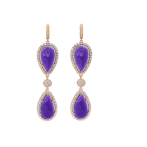 Double Amethyst & Diamond Earring