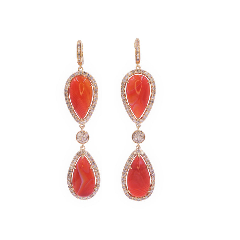 Double Red Stone & Diamond Earring