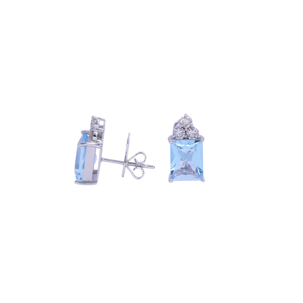 Square Aquamarine & Diamond Earrings