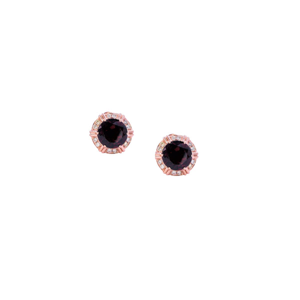 Round Garnet & Diamond Earrings