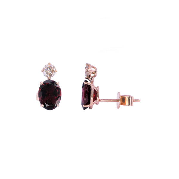 Oval Garnet & Diamond Earrings
