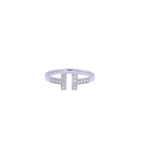 Letter T Parallel Bars Diamond Open Ring