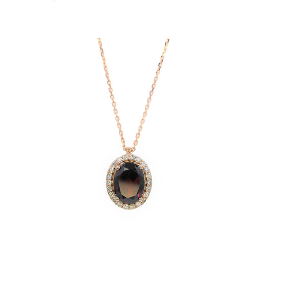 Halo Garnet & Diamond Pendant