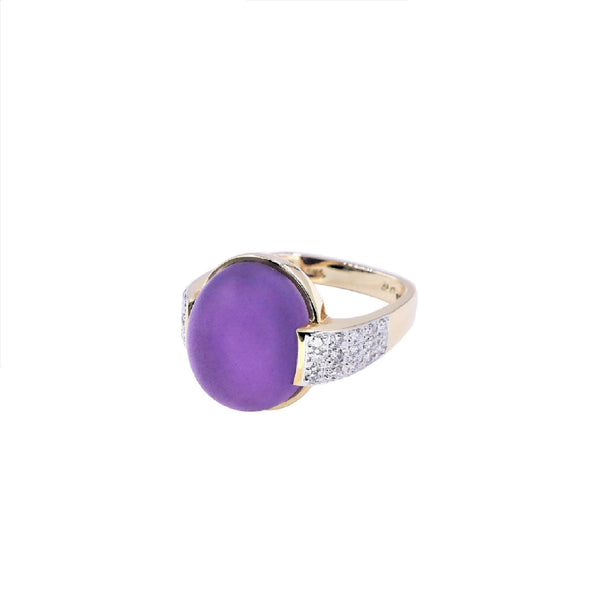 Cabochon Amethyst & Diamond Ring