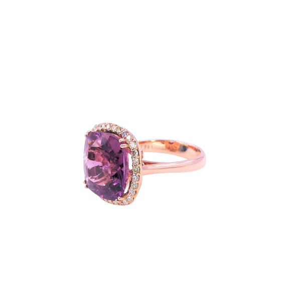 Pink Tourmaline & Diamond Cocktail Ring
