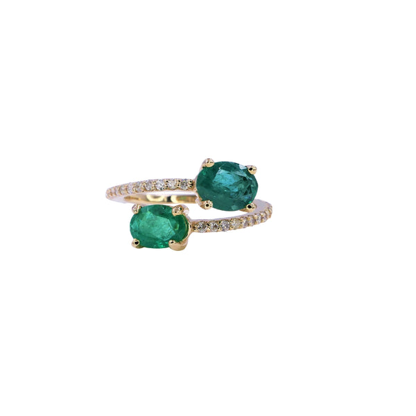Double Oval Emerald & Diamond Ring