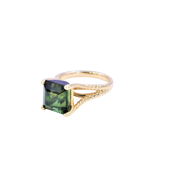 Asscher Green Tourmaline Ring
