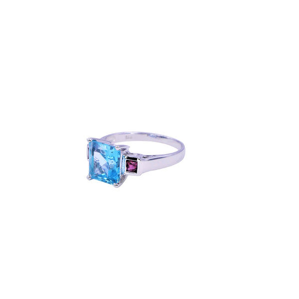 Pink Tourmaline & Swiss Blue Topaz Ring