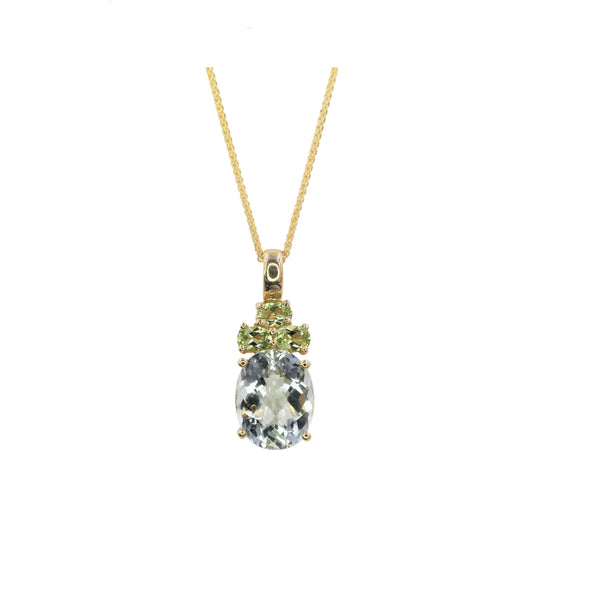 Yellow Gold Peridot & Green Amethyst Pendant
