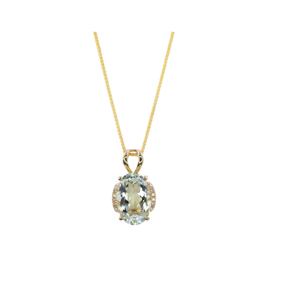 Yellow Gold Diamond & Green Amethyst Pendant
