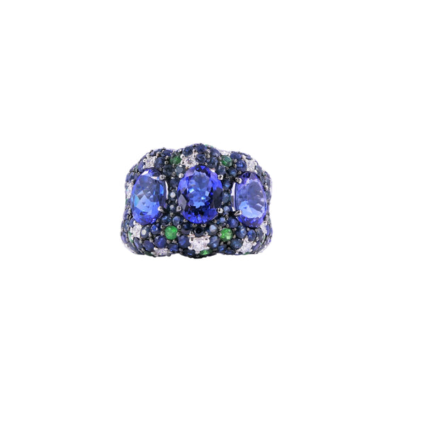 Azure Forest Diamonds, Tanzanite, Sapphires & Tsavorite Ring