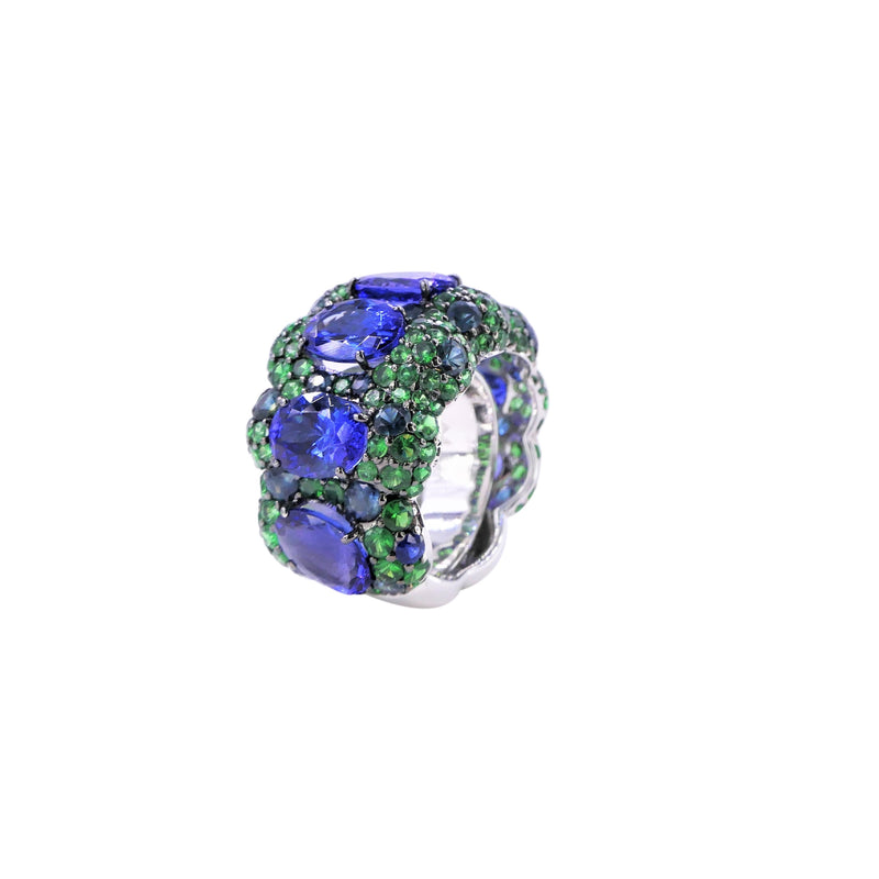Azure Forest Tanzanite, Sapphire and Tsavorite Ring