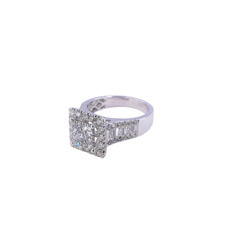 White Gold Halo Square Diamond Ring