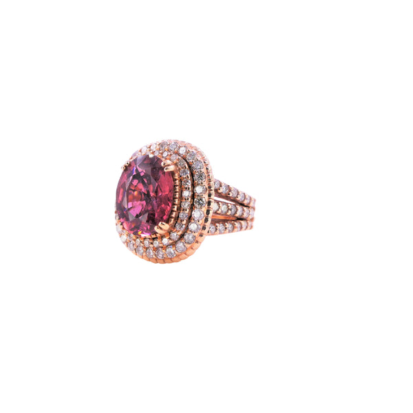 Rubellite Diamond Halo Ring