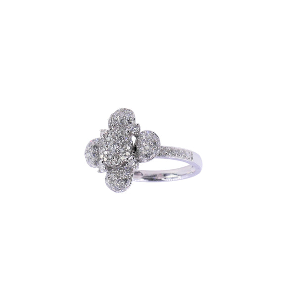 White Gold Flower 1.0 CT Diamond Ring