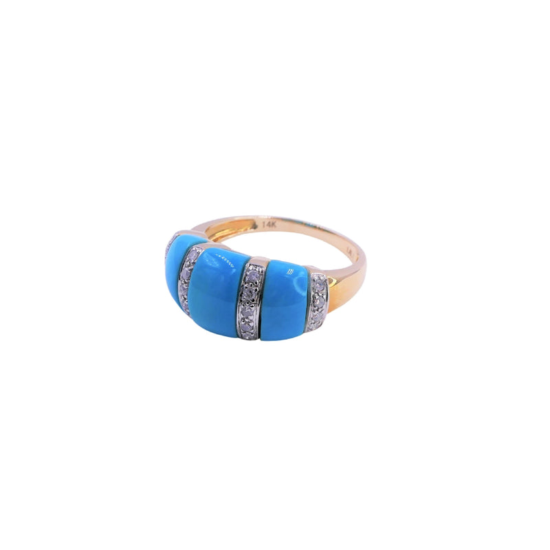 Yellow Gold Turquoise & Diamond Ring