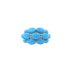 Three-Row Oval Turquoise Ring