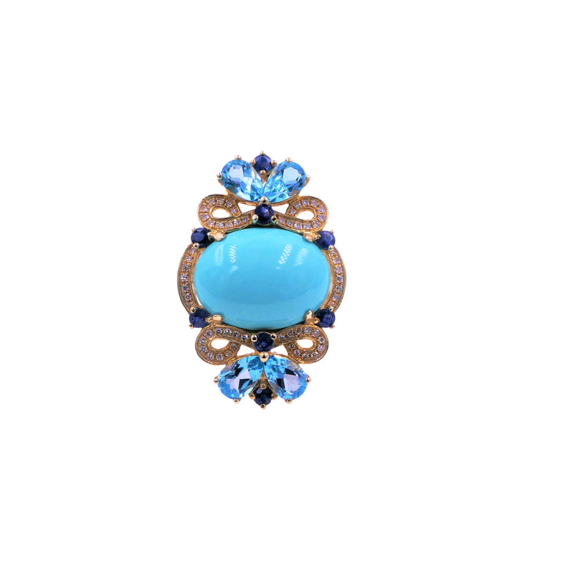 Multicolor Turquoise & Diamond Ring
