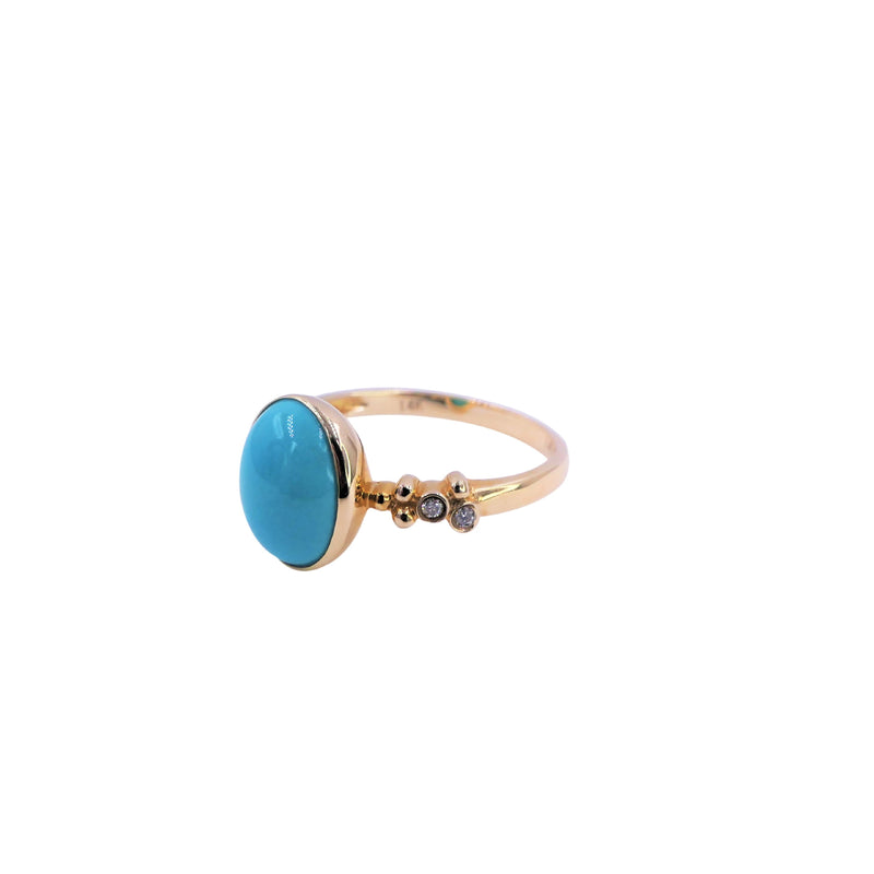 Diamond & Oval Turquoise Ring