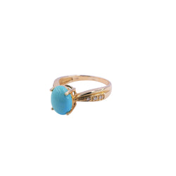 Oval Turquoise & Diamond Ring
