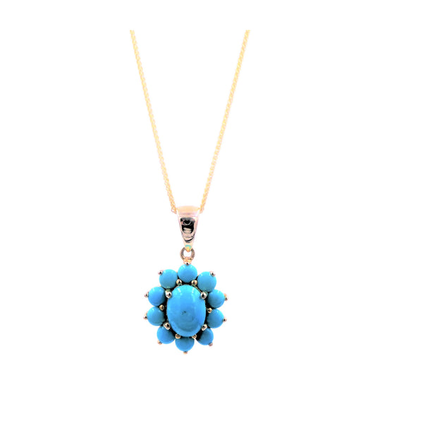 Yellow Gold Flower Turquoise Pendant