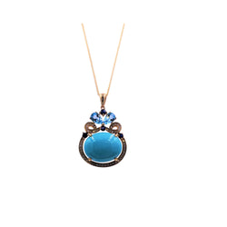 Turquoise Multicolor & Diamond Pendant