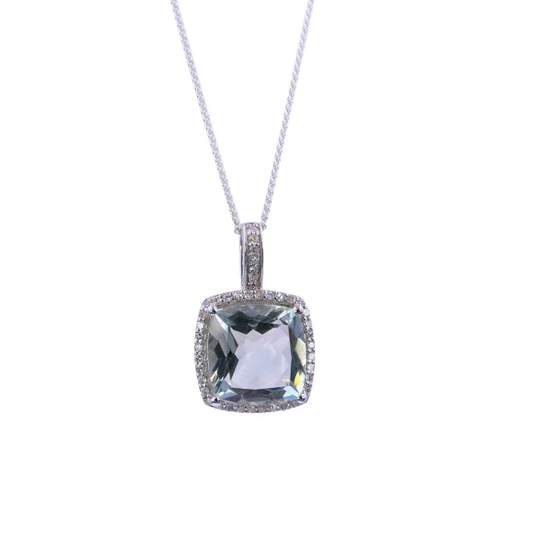 White Gold Diamond & Green Amethyst Pendant