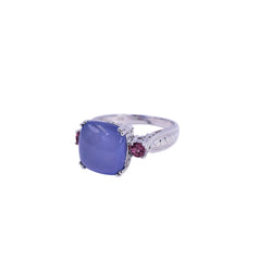 Diamond, Pink Tourmaline & Chalcedony Ring