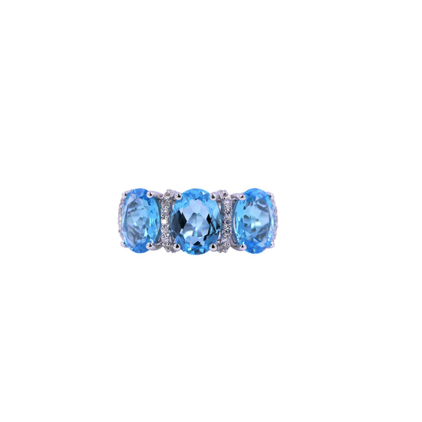 Three-Stone Swiss Blue Topaz & Diamond Ring