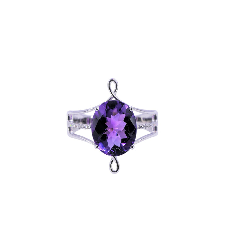 Oval Amethyst & Diamond White Gold Ring