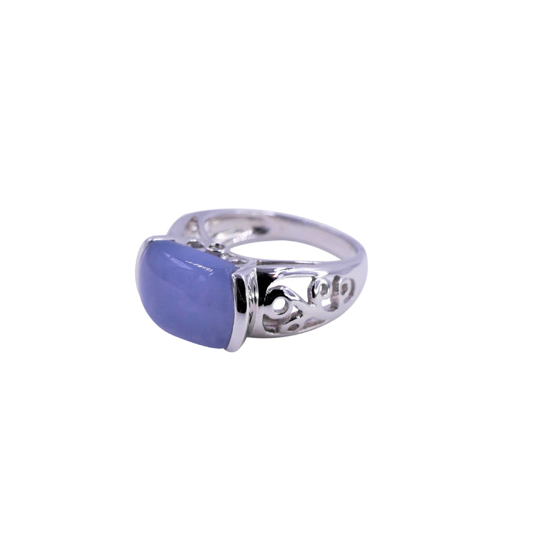 Diamond & Blue Chalcedony Ring