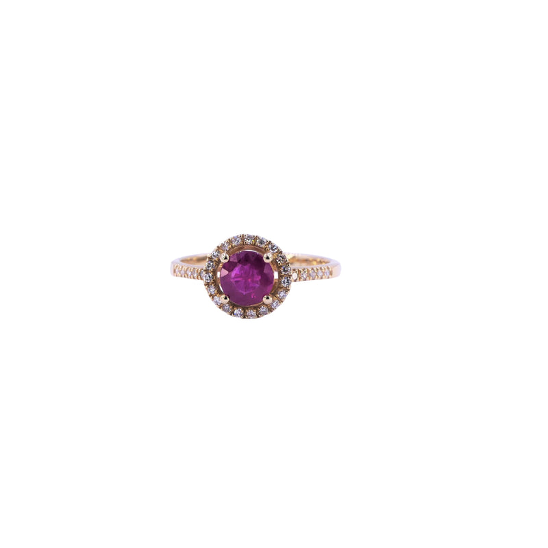 Yellow Gold Diamond Ruby Ring